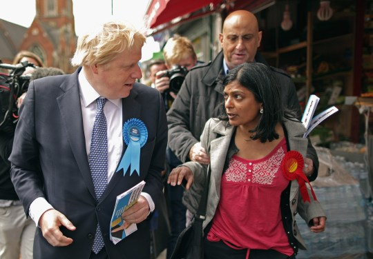 Labour candidate Rupa Huq trying to debate with Boris Johnson (Picture: Getty Images)