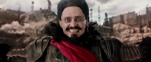 Hugh Jackman looks rather mad as Blackbeard in the Pan trailer (Picture: Warner Bros.)