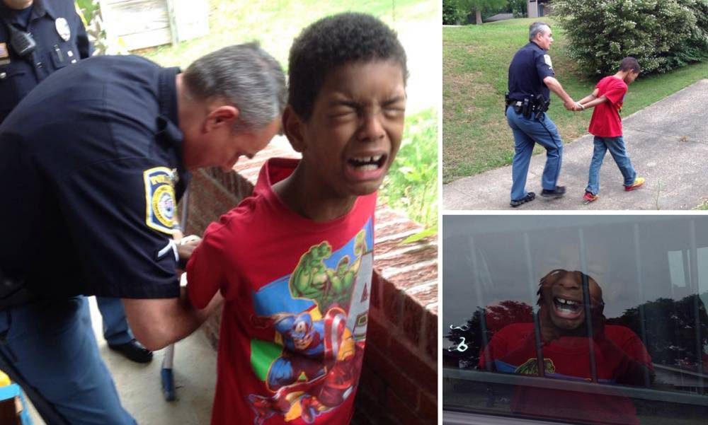 Police officers stage fake arrest to help mother with misbehaving son