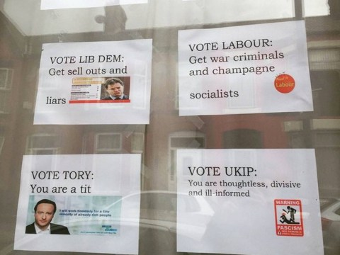 Something tells us whoever made this sign doesn't plan on voting in the election