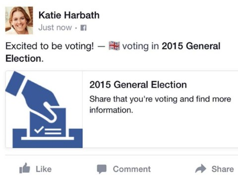 New Facebook button allows users to tell friends they've voted