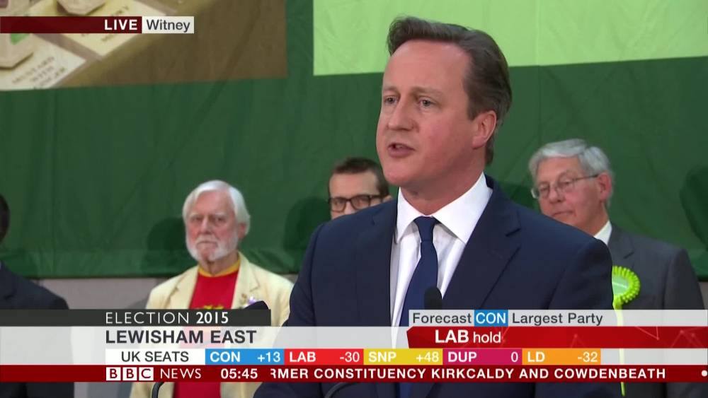 David Cameron wins seat, uses speech to call for 'one nation, one UK'