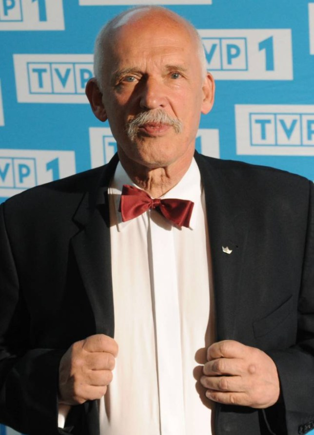In this  May 5, 2015 photo far-right wing candidate for Sunday's presidential election Janusz Korwin-Mikke poses for a photo prior to a televised debate in Warsaw, Poland. (AP Photo/Alik Keplicz)