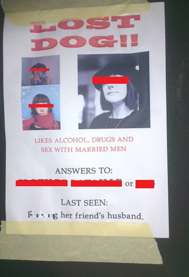Finding out you are being cheated on is generally not a pleasant experience. Finding out that only your spouse, but also a close friend, have betrayed you is even worse. We can certainly understand the anger and upset that would motivate someone to make posters like this, but does that make it ok? Dozens of copies of the flier (which did not censor the identity of the woman featured) were reportedly posted all around the Shoreditch area of East London.