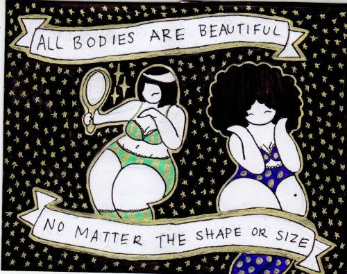 "**MUST LINK TO http://cosmiccuties.com/**    Cosmic Cuties is a Tumblr created by 16-year-old Brooklyn high schooler Mikhaila Nodel, a girl who is going places in life. On the Tumblr, she describes the space ladies she draws as women ""who fight sexism throughout the universe. They stand for feminism, body acceptance, and self love!"" On top of all that, the drawings are meant to just make people's days better, reports Women You Should Know.  The drawings are simple and gorgeous: Each one features a curvy woman thinking an inspirational thought or having an empowering conversation with another woman."