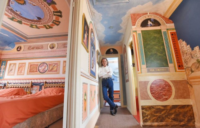 A grandfather who has spent the last 12 years transforming his council house into a stunning replica of the world-famous Sistine Chapel has finally completed his masterpiece.  Former decorator Robert Burns, 67, has been painting his three-bedroom home one room at a time after being inspired by Renaissance painters and the Vatican City. The incredible transformation of the council home in Brighton, East Sussex, includes a recreation of the remarkable ceiling in the Sistine Chapel - the Pope's official residence in the Vatican City.  SEE OUR COPY FOR DETAILS. Pictured:  Robert Burns in one of the rooms he painted in his home. © Zachary Culpin/Solent News & Photo Agency UK +44 (0) 2380 458800