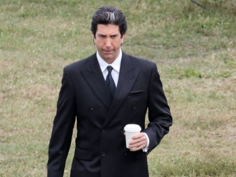 Here's David Schwimmer as Kim Kardashian's dad on the set of American Crime Story