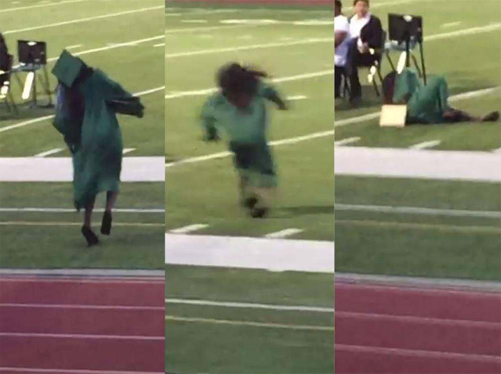 Girl Wears Wrong Shoes to Graduation, Falls Hard