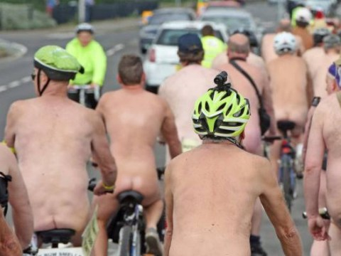 Naked cyclists invade the seaside to promote safe cycling