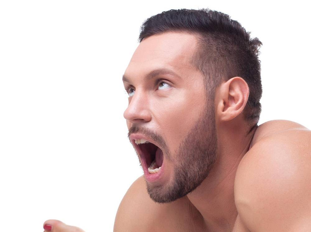 EJAW6P Bearded man showing orgasm during sex. Image shot 10/2014. Exact date unknown.