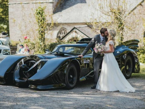 Groom gets pranked when his car breaks down on way to the church only for the Batmobile to show up