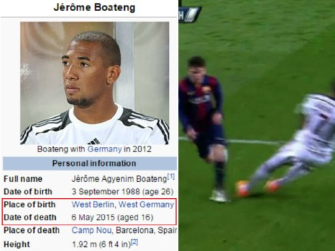 Jerome Boateng listed as dead on Wikipedia after Lionel Messi destroys him during Barcelona v Bayern