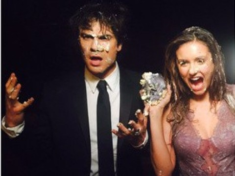 Nina Dobrev ends her Vampire Diaries career with a MASSIVE cake fight