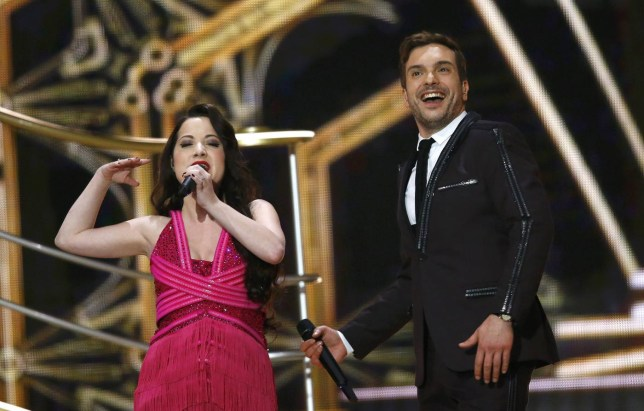 "Electro Velvet representing the United Kingdom perform the song ""Still In Love With You"" during the final of the 60th annual Eurovision Song Contest in Vienna Leonhard Foeger/Reuters"