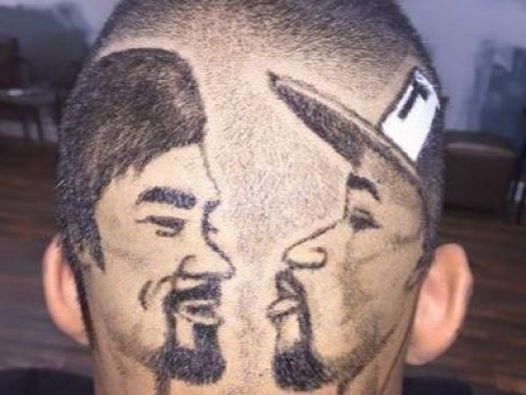Man gets worst haircut ever with Floyd Mayweather and Manny Pacquiao's faces shaved into his head