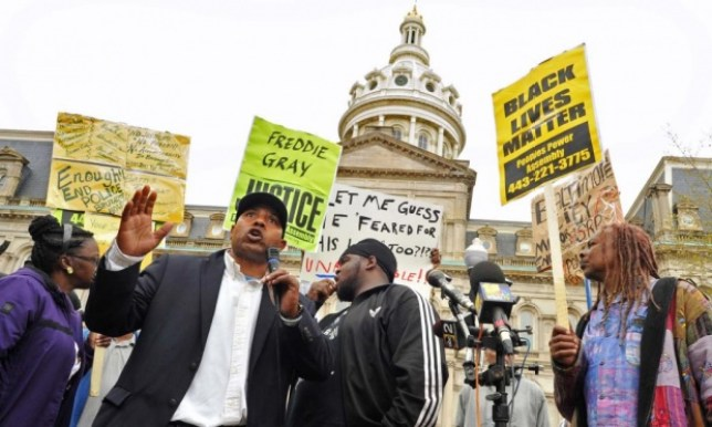 Protestors in Baltimore seek justice for Freddie Gray (Picture: Amy Davis/AP)