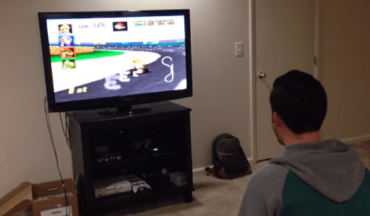Lucky man begins circuit on Mario Kart (Picture: Youtube)