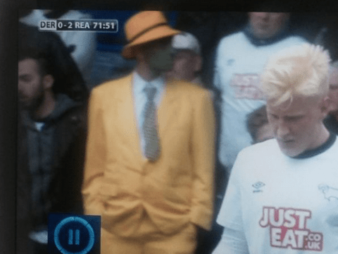 Derby fan dressed as The Mask really didn't enjoy their match with Reading