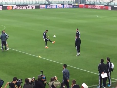 Real Madrid reserve goalkeeper Keylor Navas shows Cristiano Ronaldo a thing or two about his ball skills