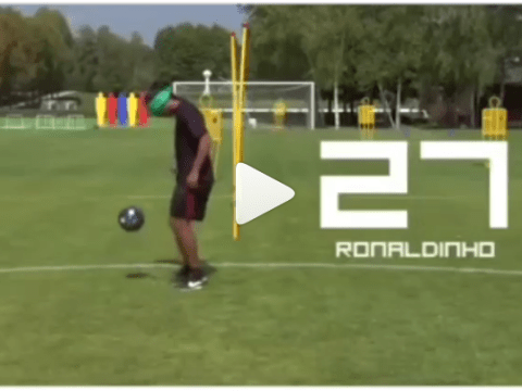 Brazilian legend Ronaldinho shows he hasn't lost any of his famous skills in amazing video