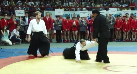 Steven Seagal schools two guys during a Russian martial arts masterclass without even trying