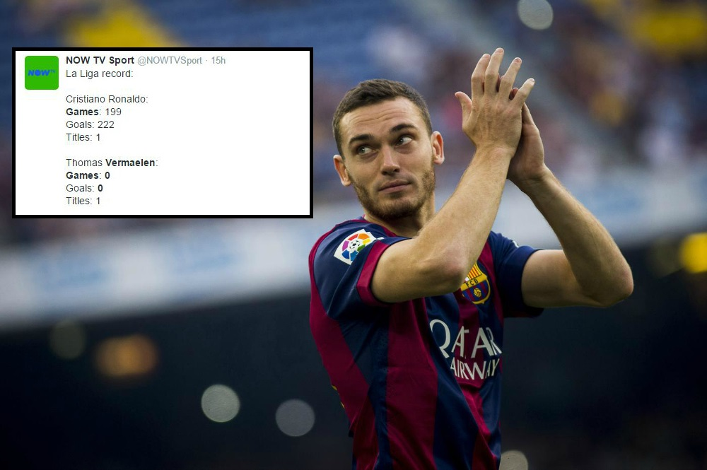 Ex-Arsenal defender Thomas Vermaelen has now won as many La Liga titles as Cristiano Ronaldo