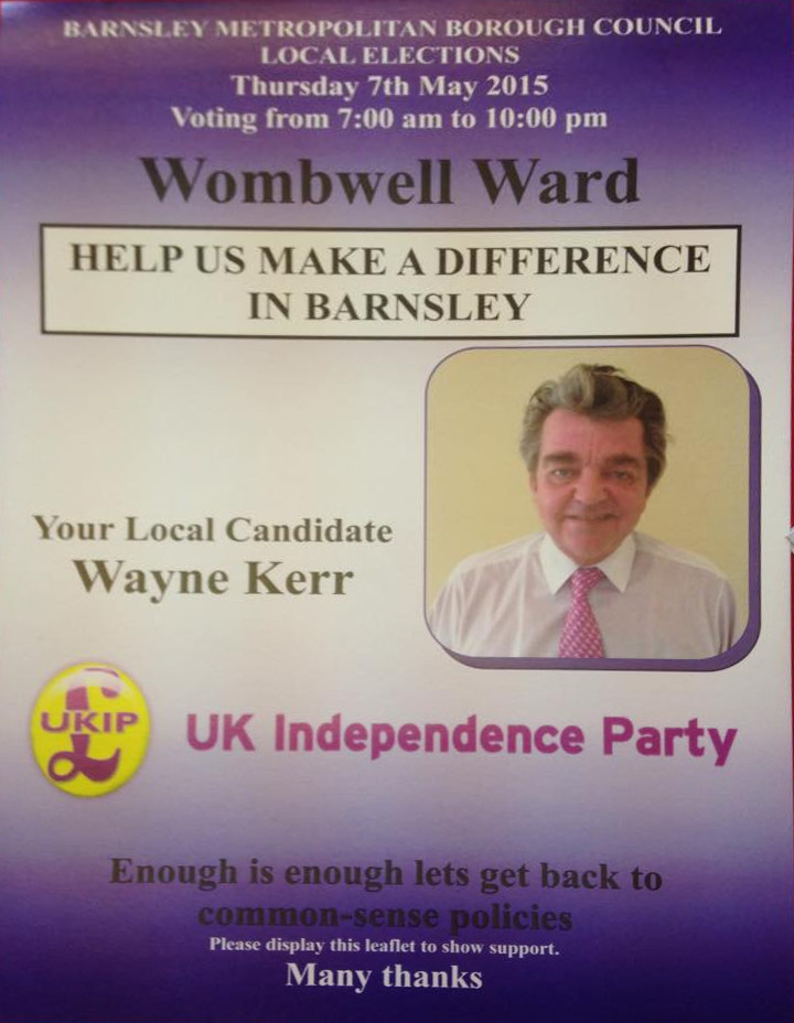 Wayne Kerr is standing as a Ukip councillor in Barnsley