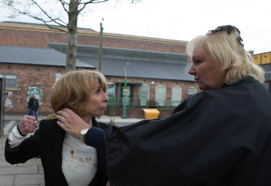 FROM ITV STRICT EMBARGO -TV Listings Magazines & websites Tuesday 23 June 2015, Newspapers Saturday 27 June 2015  Coronation Street - Ep 8672 Monday 29 June 2015 - 2nd Ep Gail Rodwell [HELEN WORTH] rages at Eileen Grimshaw [SUE CLEAVER]. Eileen does her best to defend herself, assuring Gail they only kissed and Michael isn't really her type, but this only serves to fuel Gail's anger. Gail pursues Eileen out of the salon and the two women fight on the street. The Platts watch in horror as Gail and Eileen brawl on the cobbles. In her rage Gail makes some disparaging remarks about Michael Rodwell [LES DENNIS] but her anger quickly turns to regret as she spots Michael who's heard every word. Can he forgive Gail's behaviour or are the couple back to square one?  Picture contact: david.crook@itv.com on 0161 952 6214 Photographer - Mark Bruce This photograph is (C) ITV Plc and can only be reproduced for editorial purposes directly in connection with the programme or event mentioned above, or ITV plc. Once made available by ITV plc Picture Desk, this photograph can be reproduced once only up until the transmission [TX] date and no reproduction fee will be charged. Any subsequent usage may incur a fee. This photograph must not be manipulated [excluding basic cropping] in a manner which alters the visual appearance of the person photographed deemed detrimental or inappropriate by ITV plc Picture Desk. This photograph must not be syndicated to any other company, publication or website, or permanently archived, without the express written permission of ITV Plc Picture Desk. Full Terms and conditions are available on the website www.itvpictures.com
