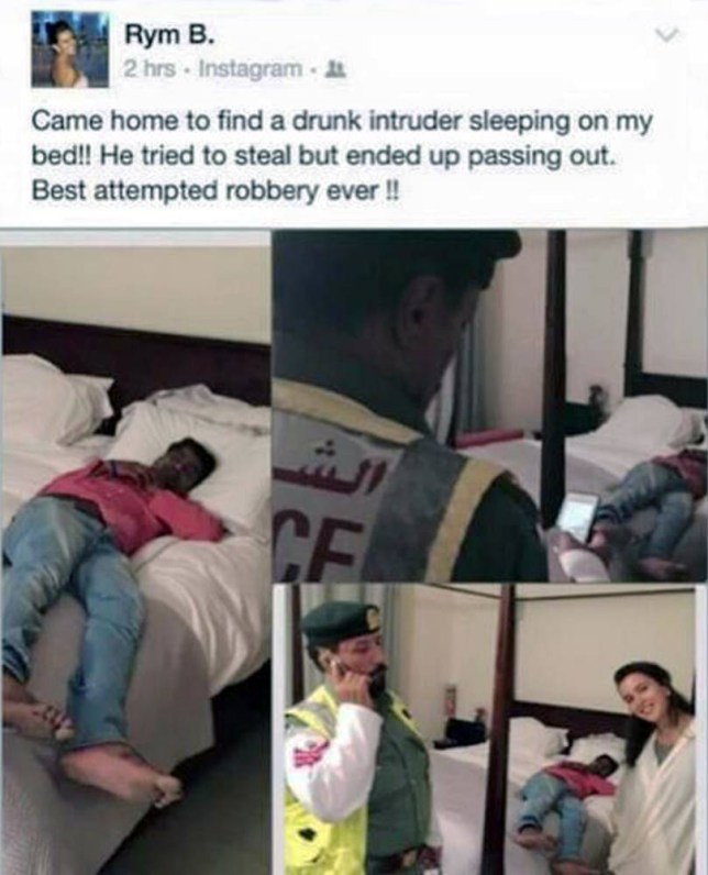 """Pic shows: The strange man sleeping on her bed and the selfie.  A woman took a selfie when she discovered a man sleeping on her bed when she returned home. The startled businesswoman rang police and then posted the snap on her Facebook account to prove what had happened. The strange incident happened at the Tunisian womanís flat in Dubai in the United Arab Emirates. Police promptly arrested the sleeping man who was drunk and say he is now facing trespass charges. It emerged that the man was visiting his friend who is the night watchman of the building and had no intention of robbing the flat. The man admitted he had been drinking heavily and said he only wanted to sleep. Dubaiís assistant police commander for criminal affairs Major General Khalil Al Mansoori said.""""They had alcoholic drinksÖthe man then sneaked into the womanís apartment and slept on her bed as he was very tiredÖhe had no intention to steal."""" Bur Dubai police chief Colonel Abdullah Al Maasam,  said  the man was arrested by a police patrol in the area following an emergency call by that woman.  The smiling woman, who has not been identified, took a selfie picture with the man sleeping curled up on her bed and published it on her Facebook page after his arrest. A police spokesman said the man was faces charges of trespassing. (ends)"""