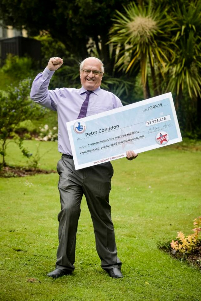 Great-grandfather Peter Congdon, 67, from Truro, celebrates after winning a £13.5 million Lotto jackpot when he thought he had won just £25. PRESS ASSOCIATION Photo. Picture date: Tuesday June 2, 2015. Mr Congdon, 67, won the life-changing £13,538,113 after matching all six numbers in last Wednesday's Lotto Quadruple Rollover draw. See PA story LOTTERY Grandfather. Photo credit should read: Ben Birchall/PA Wire