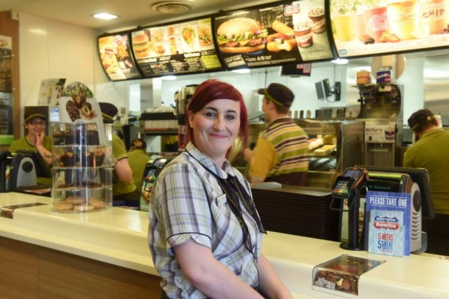 """Amy Farrow at  McDonalds in Hartlepool. A woman who applied for over 1,200 jobs without success is 'lovin' it after she finally landed one - at McDonald's. See swns story SWJOB. Determined Amy Farrow, 24, tried for up to 40 positions a week in bars, shops and restaurants without success. Amy, of Hartlepool, studied construction at college, volunteered at a charity shop and completed an apprenticeship at a restaurant. She had over 1,000 knock backs before being accepted for a full time job by the fast food giant, where the starting wage is £6.32 an hour.   Amy said: """"I used to go on all the job sites and walk around every day handing my CV out. It was hard.  """"Sometimes the people I was applying to didn't even get back in touch. I had quite a few interviews but I wasn't successful."""" Despite her experience she had failed to secure a permanent, full time position for over three years. She said: ''This is the best job I've had and it's made a huge difference to my life.""""I'm meeting loads of new people and now Iím getting a full wage I'm able to move into my own house.îLatest figures show Hartlepool has 455 people aged 16-24 who are out of work ó a rate twice the national average."""