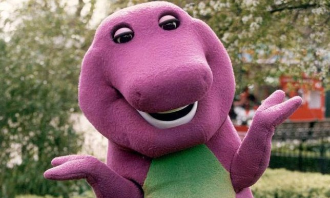 Barney the dinosaur,the 6ft.pink and green star of American TV seen at London Zoo for a photocall.