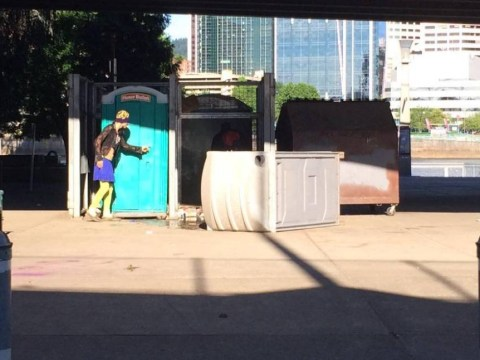 Dirty street justice sees homeless 'flasher' tipped over in portable toilet