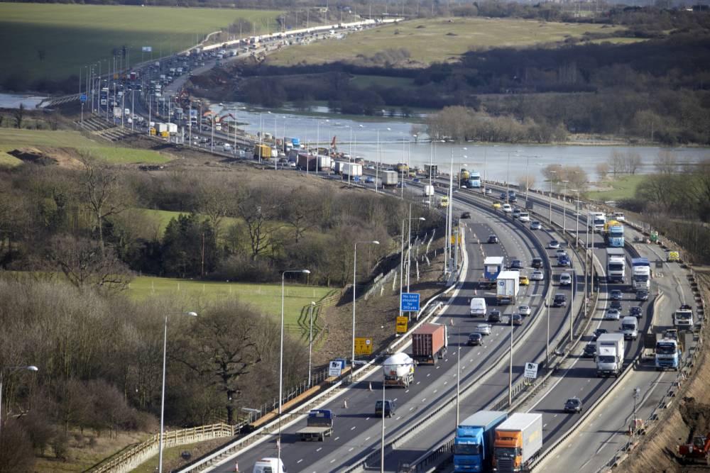 Aerial view of traffic jam on M25 motorway