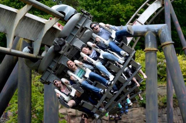 "(Left to right) Matt Bennett, Erik Votjas, Lucia Pajtasova and Dan Bennett, from Cheltenham, ride Nemesis at Alton Towers in Staffordshire, as the theme park reopened after shutting its gates following a rollercoaster crash which saw four people seriously injured. PRESS ASSOCIATION Photo. Picture date: Monday June 8, 2015. The park has been closed since Tuesday, and the chief executive of Merlin Entertainments, which owns the park, says it is committed to ensuring people can visit again ""with confidence"". See PA story ACCIDENT AltonTowers. Photo credit should read: Joe Giddens/PA Wire"