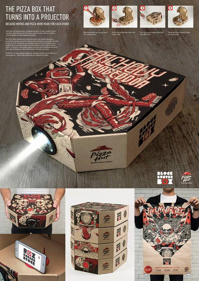 To generate buzz for their 'double pizza' promotion, Pizza Hut Hong Kong and Ogilvy & Mather created a special pizza box that turns your smartphone into a movie projector Credits: Ogilvy & Mather Group HK/ Pizza Hut CCO: Reed Collins CD: Matt Nisbet, Andy Reynolds, Bo Deng CW: Ollie Davis, Peter Englebrecht Designer: Gianluca Crudele Code: Craig Mason Illustrator: Barlo, Parents Parents, Caratos, Mark Goss Agency: Ogilvy & Mather Group HK Client: Pizza Hut