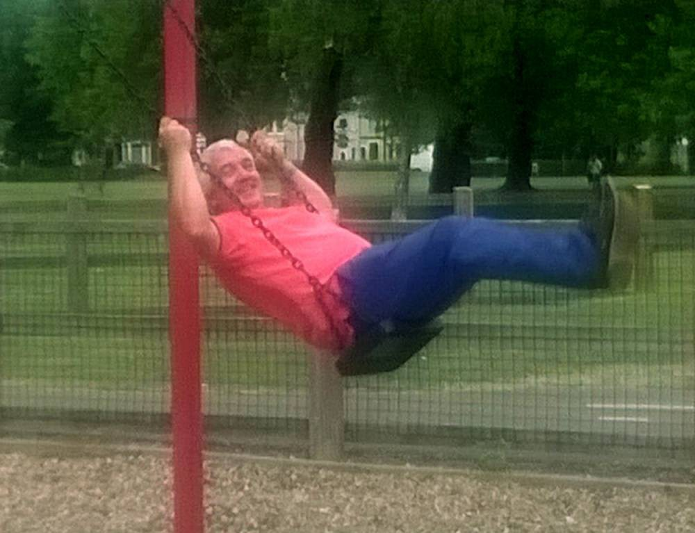 Pictured:  Matt Richards playing at the park. A paedophile plays in a children's play park after changing his name to bury the fact he had been jailed for abusing a young girl.  Smiling hospital DJ Matt Richards - formally Andrew Watt - was banned from having contact with children yet befriended a family who trusted him with babysitting duties. The child's disgusted mother relied on Richards, who conned her into looking after her child around 30 times and was even recommended by her to a second family. Damning photos show Richards, of Waterlooville, Hants, on an outing with the family and the child, smirking as he plays on the swings, slide and monkey bars.  SEE OUR COPY FOR DETAILS. © Portsmouth News/Solent News & Photo Agency UK +44 (0) 2380 458800