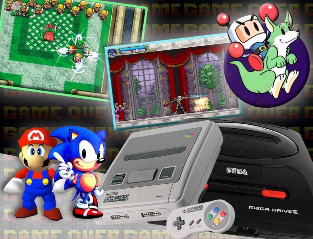 90s gaming  Sega megadrive, Nintendo SNES, Legend of Zelda, Castlevania, megabomberman, Mario 64  Background source: Getty Images