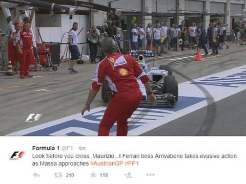 Felipe Massa nearly runs over Ferrari boss Maurizio Arrivabene in pit lane