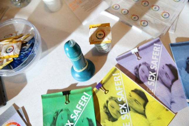 """Glowing' condoms could soon reveal if you have an STI: Students design smart contraceptive to detect disease  Called the S.T.EYE, the condom concept includes a layer impregnated with molecules that attach to the bacteria and viruses associated with the most common sexually transmitted infections (STIs). The idea was invented by Daanyaal Ali, 14, Muaz Nawaz, 13 and Chirag Shah, 14. It is a condom with an inbuilt indicator that changes colour on coming into contact with some of the most common sexually transmitted infections. Daanyaal Ali, 14 from Isaan Newton Academy in Illford, says of their idea: """"We created the S.T.EYE as a new way for STI detection to help the future of the next  generation. We wanted to make something that make detecting harmful STIs safer than ever before, so that people can take immediate action in the privacy of their own homes without the invasive procedures at the doctors. We've made sure we're able to give peace of mind to users and make sure people can be even more responsible than ever before."""" Credit: TeenTech Awards"""