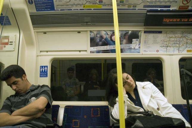Mandatory Credit: Photo by Janine Wiedel/REX Shutterstock (3182192a)  Falling asleep on the late night tube train  VARIOUS