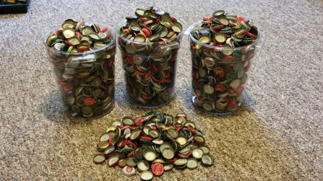 Just some of the many bottle caps Seth has collected (Picture: GatorMacheteJr /Imgur)