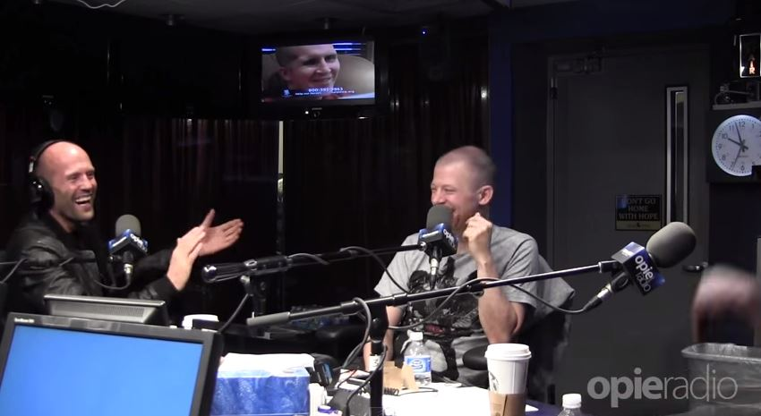 Radio presenter NAILS Jason Statham impression in front of Jason Statham