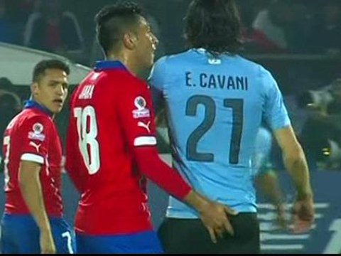 Uruguay star Edinson Cavani sent off for slapping Chile's Gonzalo Jara – after he put finger up his bottom