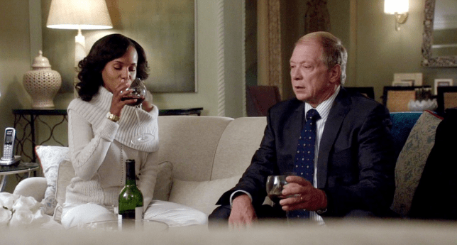 olivia pope and cyrus bean drinking glasses of wine in Scandal