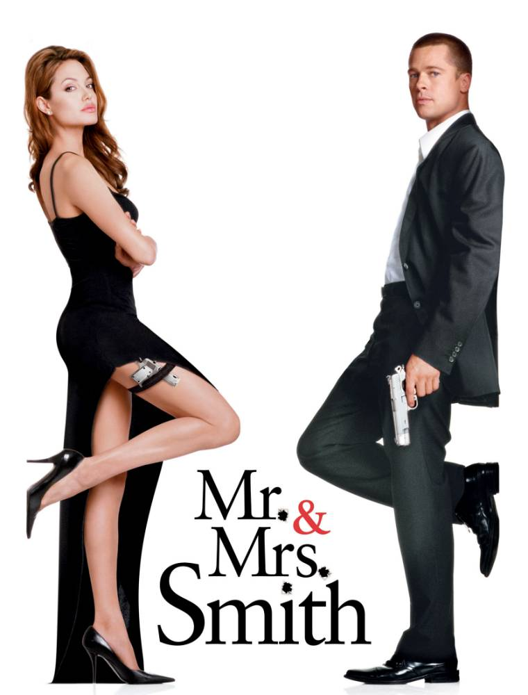 """Film, """"Mr. and Mrs. Smith"""" (2005) U.S. actors Brad Pitt (R) and Angelina Jolie are portrayed as John and Jane Smith from the movie """"Mr. and Mrs. Smith"""" in this photo of the film poster released on June 6, 2005. The movie, which portrays a married couple who happen to be highly paid efficient assassins and work for competing organizations, opens in the United States on June 10, 2005. NO ARCHIVES NO THIRD PARTY SALES  REUTERS/Stephen Vaughn/20th Century Fox/Handout"""