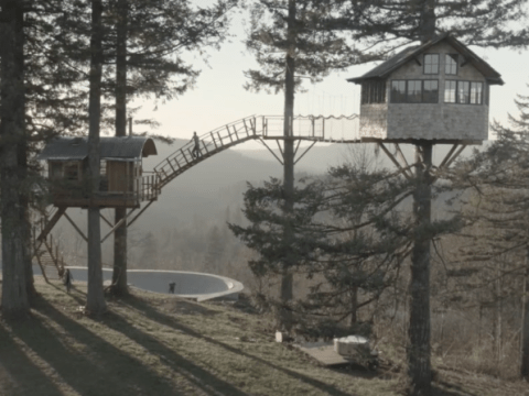 This multi-platform tree house (complete with hot tub) is all your childhood dreams come true