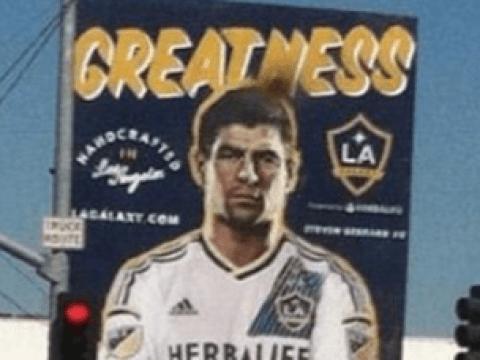 Liverpool legend Steven Gerrard looks absolutely miserable on LA Galaxy billboard