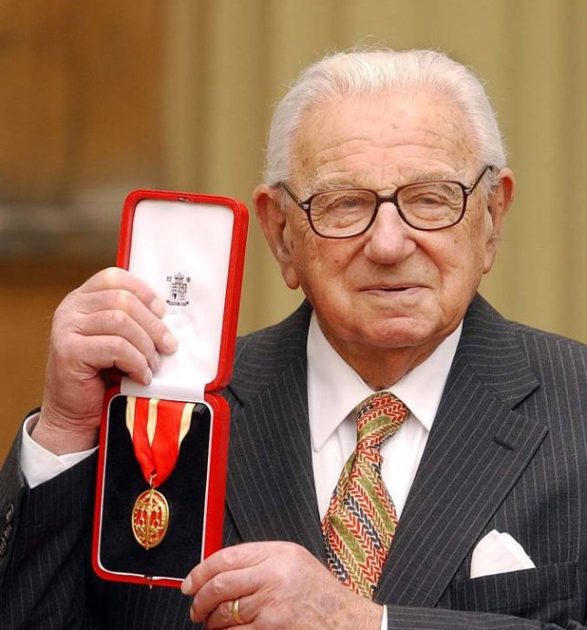 ROYAL Investiture/Winton...Sir Nicholas Winton with his Knighthood in the forecourt of Buckingham Palace, Tuesday March 11, 2003, after he received the honour from Queen Elizabeth II for services to humanity. Sir Nicholas, 93, rescued 669 young Jews by transporting them out of Czechoslovakia as the Nazis invaded.  Knighting Sir Nicholas Winton at Buckingham Palace, she said:  It s wonderful that you were able to save so many children.  See PA Story ROYAL Investiture. PA Photo: John Stillwell. WPA/Rota...A...LONDON...UK