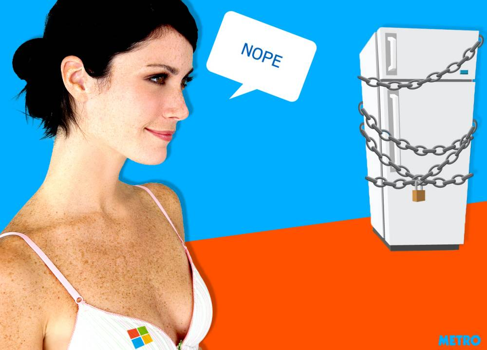 Step away from the fridge! Microsoft have developed a bra that stops you comfort eating
